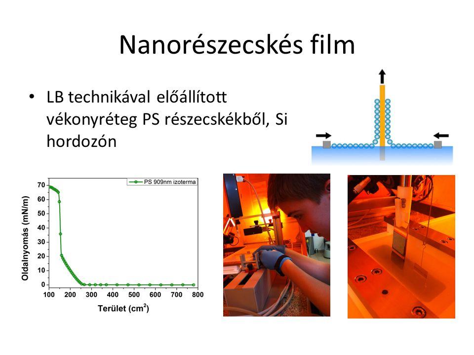 Nanorészecskés film LB technikával előállított vékonyréteg PS részecskékből, Si hordozón