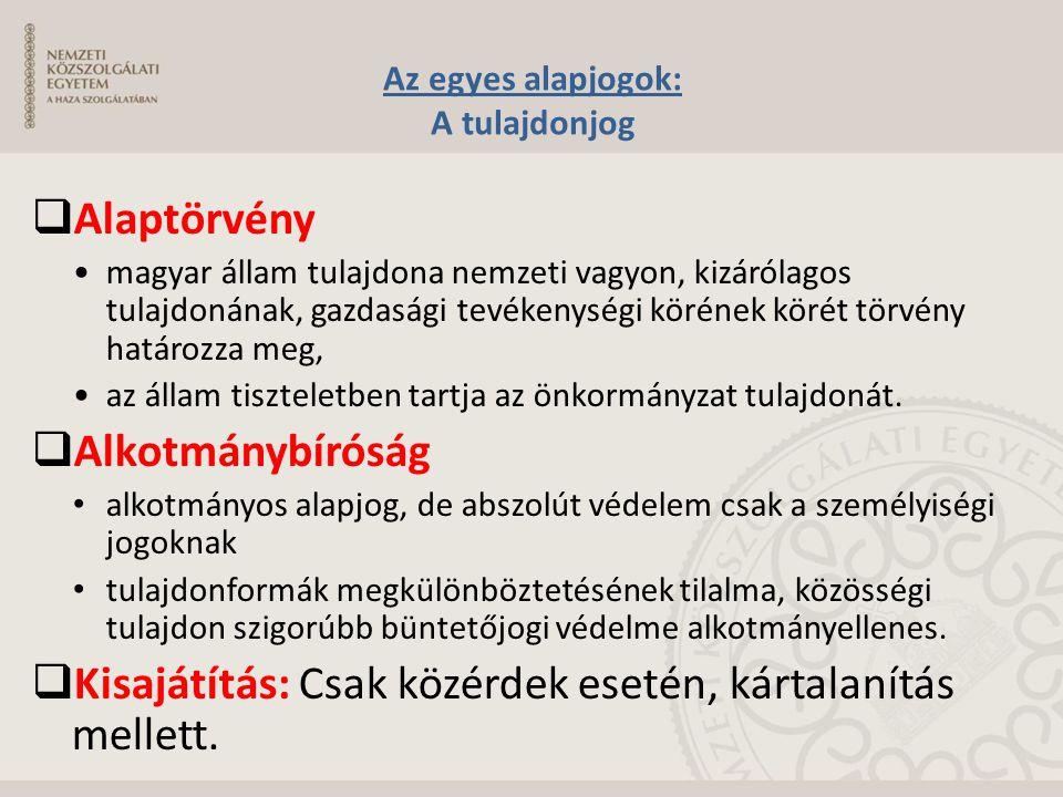 Az egyes alapjogok: A tulajdonjog  Alaptörvény magyar állam tulajdona nemzeti vagyon, kizárólagos tulajdonának, gazdasági tevékenységi körének körét
