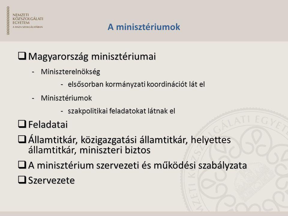 A minisztériumok  Magyarország minisztériumai -Miniszterelnökség -elsősorban kormányzati koordinációt lát el -Minisztériumok -szakpolitikai feladatok