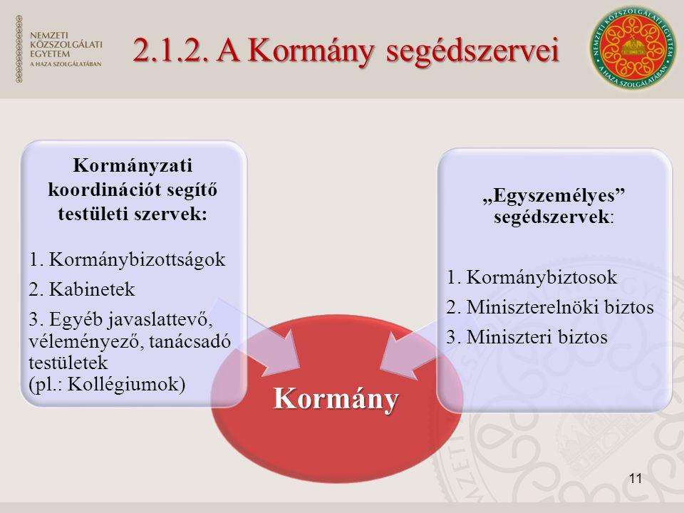 Kormány Kormányzati koordinációt segítő testületi szervek: 1. Kormánybizottságok 2. Kabinetek 3. Egyéb javaslattevő, véleményező, tanácsadó testületek