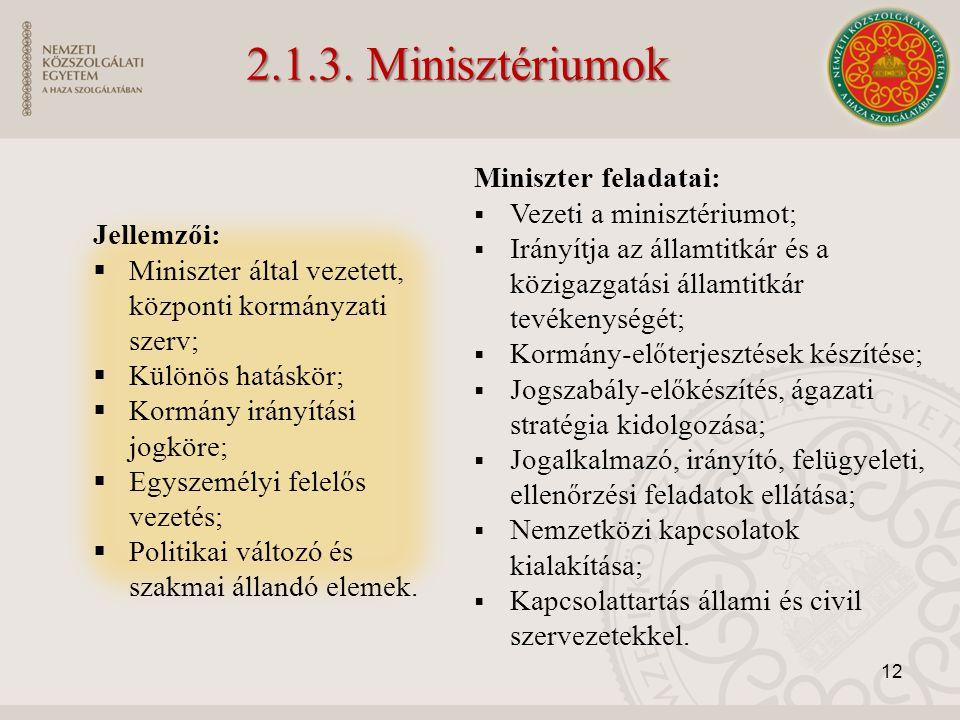 Miniszter feladatai:  Vezeti a minisztériumot;  Irányítja az államtitkár és a közigazgatási államtitkár tevékenységét;  Kormány-előterjesztések kés
