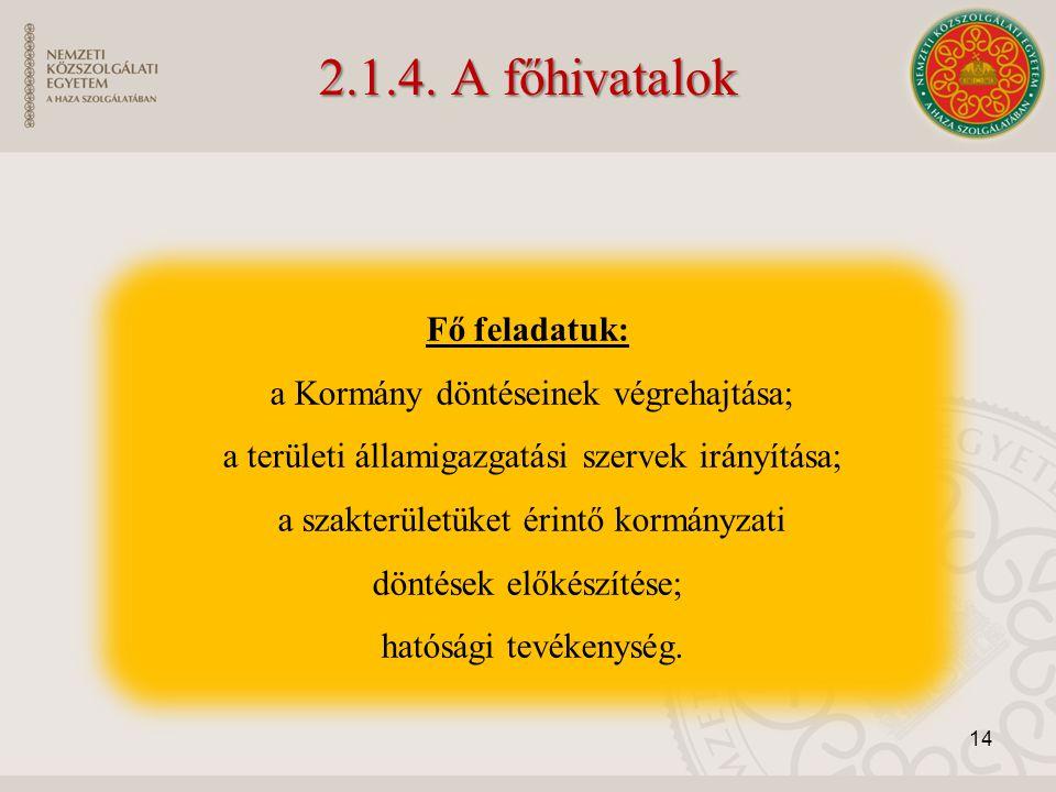 2.1.4. A főhivatalok Fő feladatuk: a Kormány döntéseinek végrehajtása; a területi államigazgatási szervek irányítása; a szakterületüket érintő kormány
