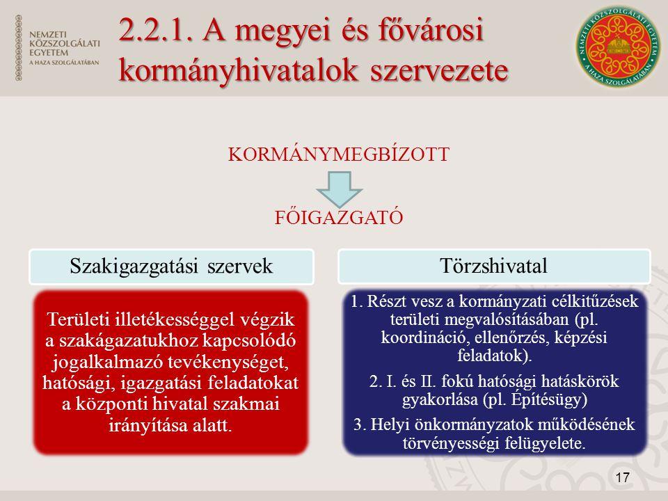 2.2.1. A megyei és fővárosi kormányhivatalok szervezete KORMÁNYMEGBÍZOTT FŐIGAZGATÓ Szakigazgatási szervek Területi illetékességgel végzik a szakágaza