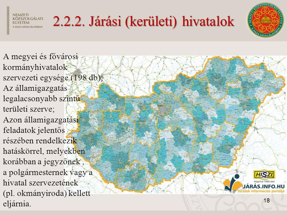 2.2.2. Járási (kerületi) hivatalok A megyei és fővárosi kormányhivatalok szervezeti egysége (198 db); Az államigazgatás legalacsonyabb szintű területi