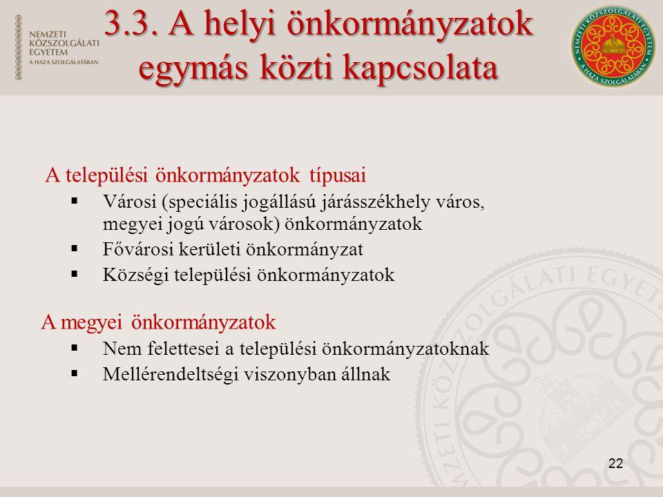 3.3. A helyi önkormányzatok egymás közti kapcsolata A települési önkormányzatok típusai  Városi (speciális jogállású járásszékhely város, megyei jogú