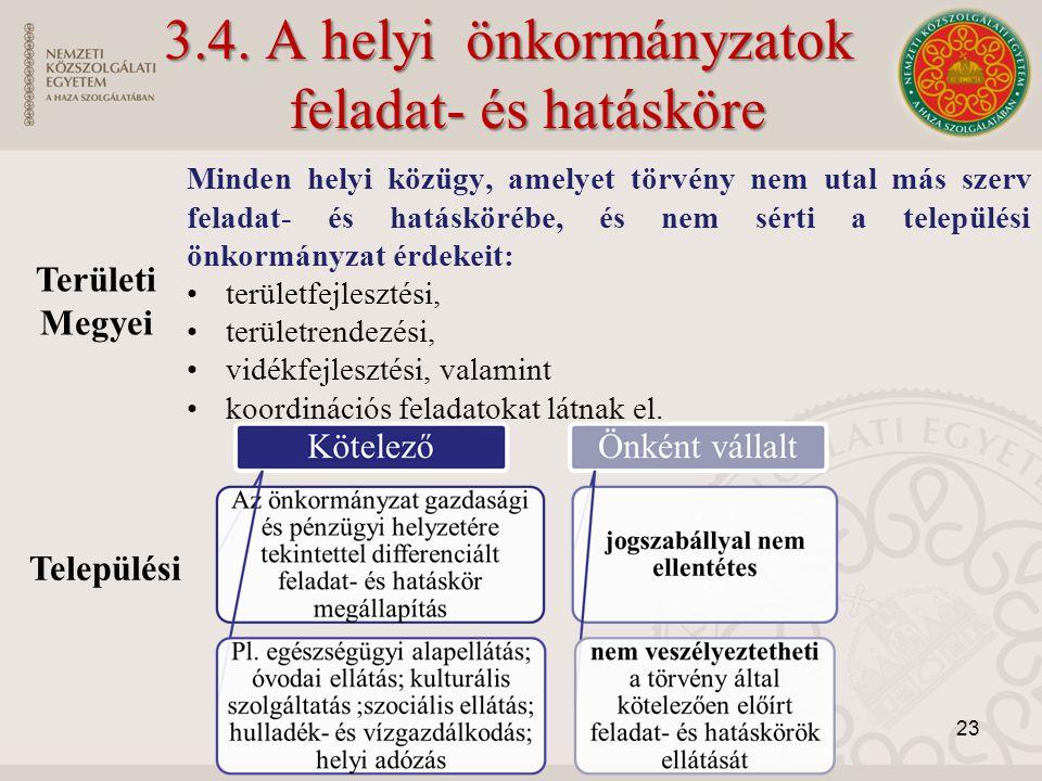 3.4. A helyi önkormányzatok feladat- és hatásköre Minden helyi közügy, amelyet törvény nem utal más szerv feladat- és hatáskörébe, és nem sérti a tele