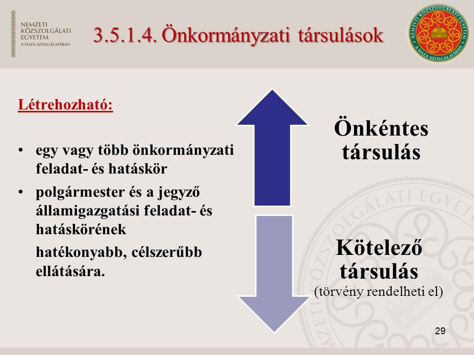 3.5.1.4. Önkormányzati társulások Létrehozható: egy vagy több önkormányzati feladat- és hatáskör polgármester és a jegyző államigazgatási feladat- és