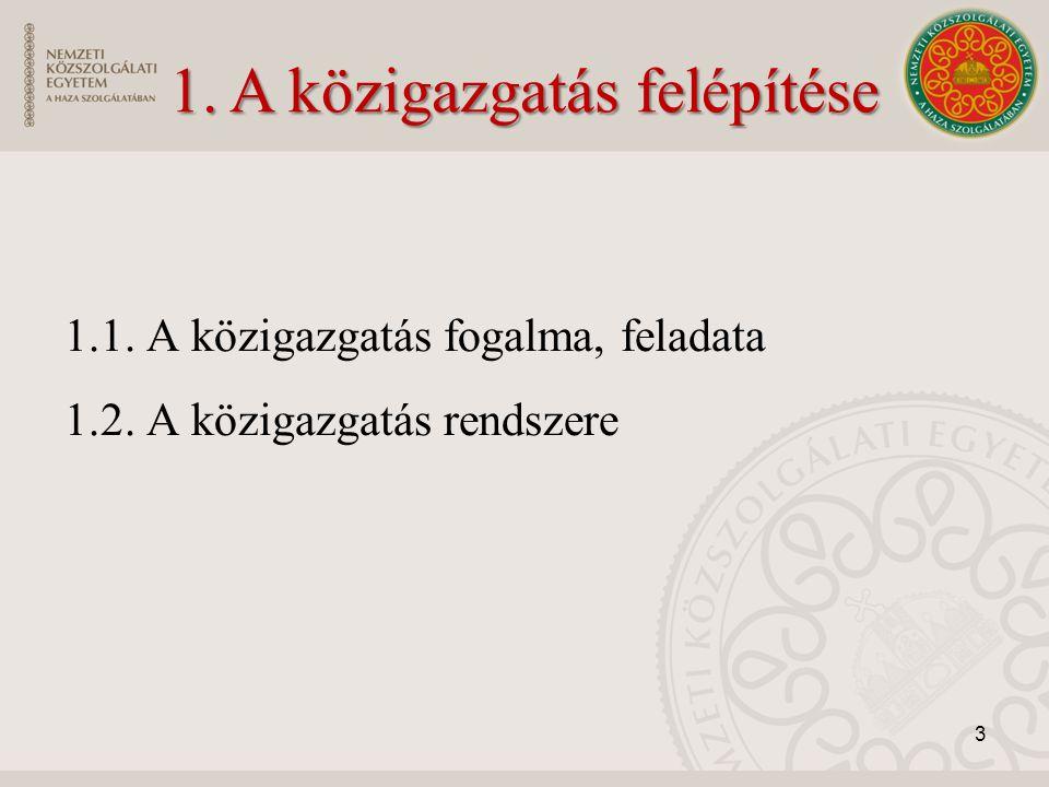 1.1. A közigazgatás fogalma, feladata 1.2. A közigazgatás rendszere 3 1. A közigazgatás felépítése