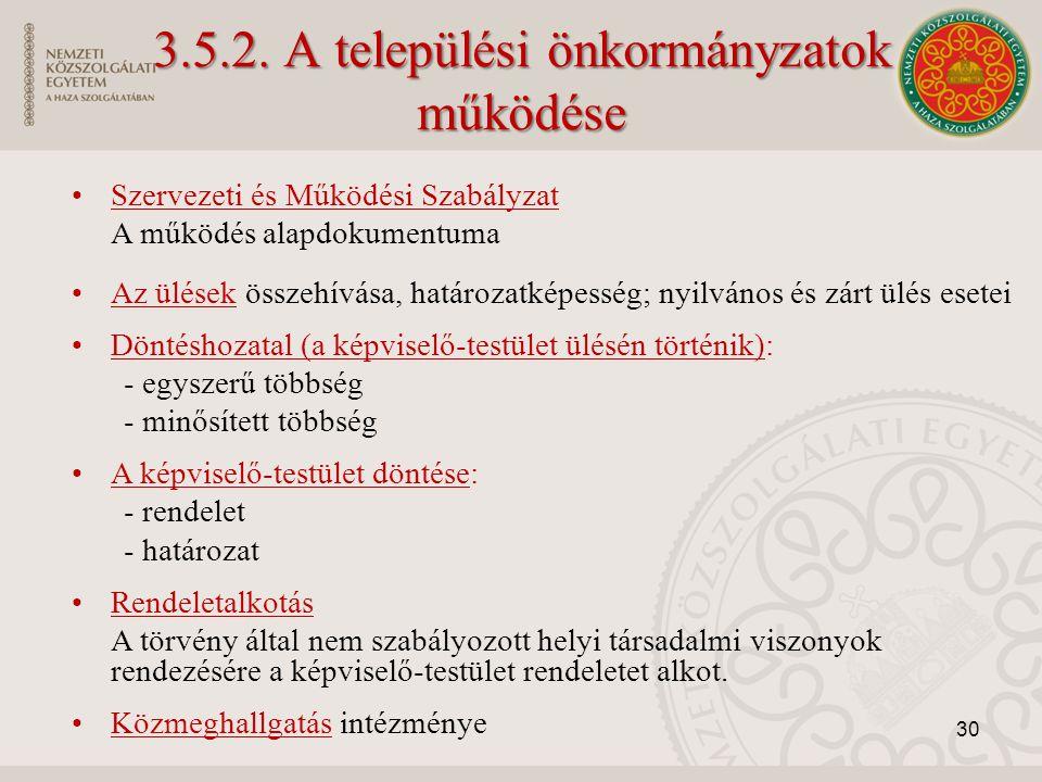 3.5.2. A települési önkormányzatok működése Szervezeti és Működési Szabályzat A működés alapdokumentuma Az ülések összehívása, határozatképesség; nyil