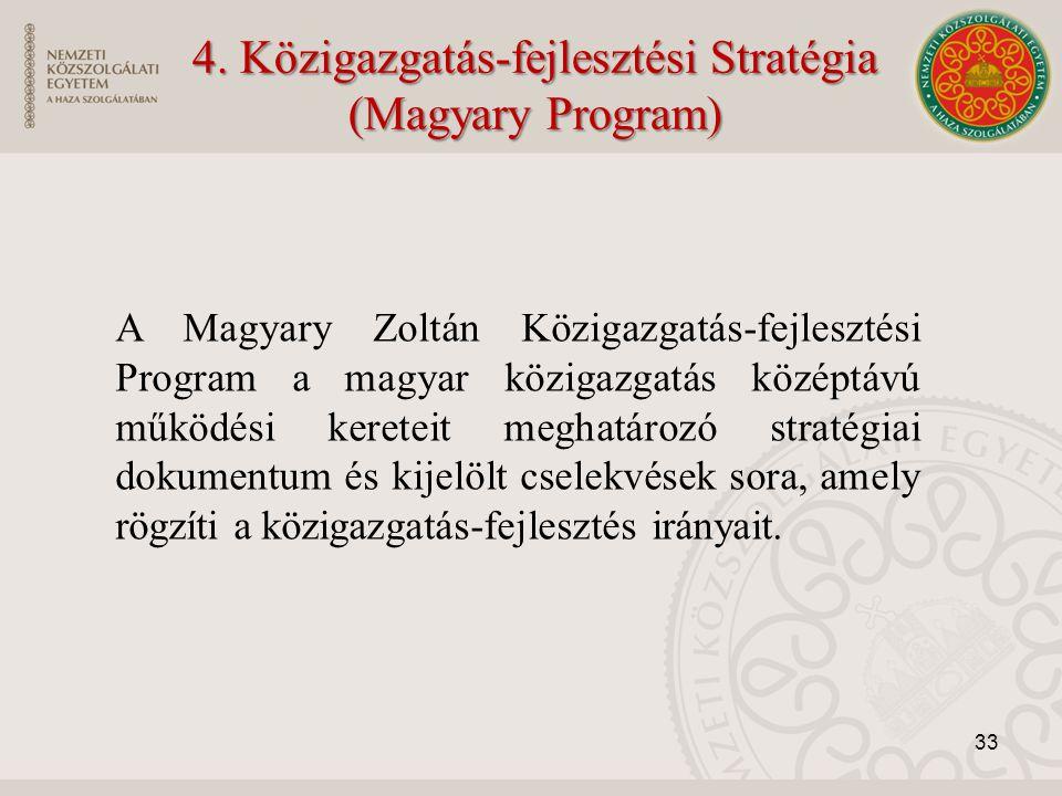 A Magyary Zoltán Közigazgatás-fejlesztési Program a magyar közigazgatás középtávú működési kereteit meghatározó stratégiai dokumentum és kijelölt csel