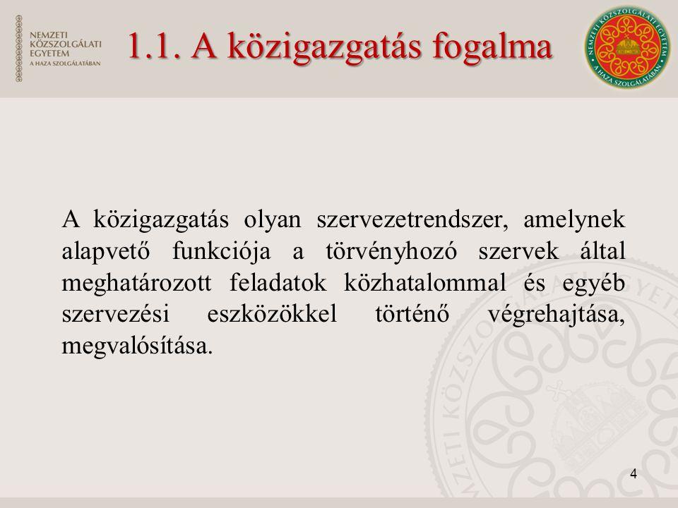 1.1. A közigazgatás fogalma A közigazgatás olyan szervezetrendszer, amelynek alapvető funkciója a törvényhozó szervek által meghatározott feladatok kö