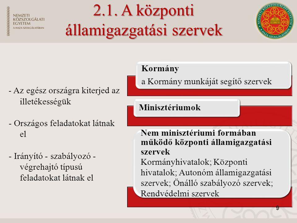 2.1. A központi államigazgatási szervek - Az egész országra kiterjed az illetékességük - Országos feladatokat látnak el - Irányító - szabályozó - végr