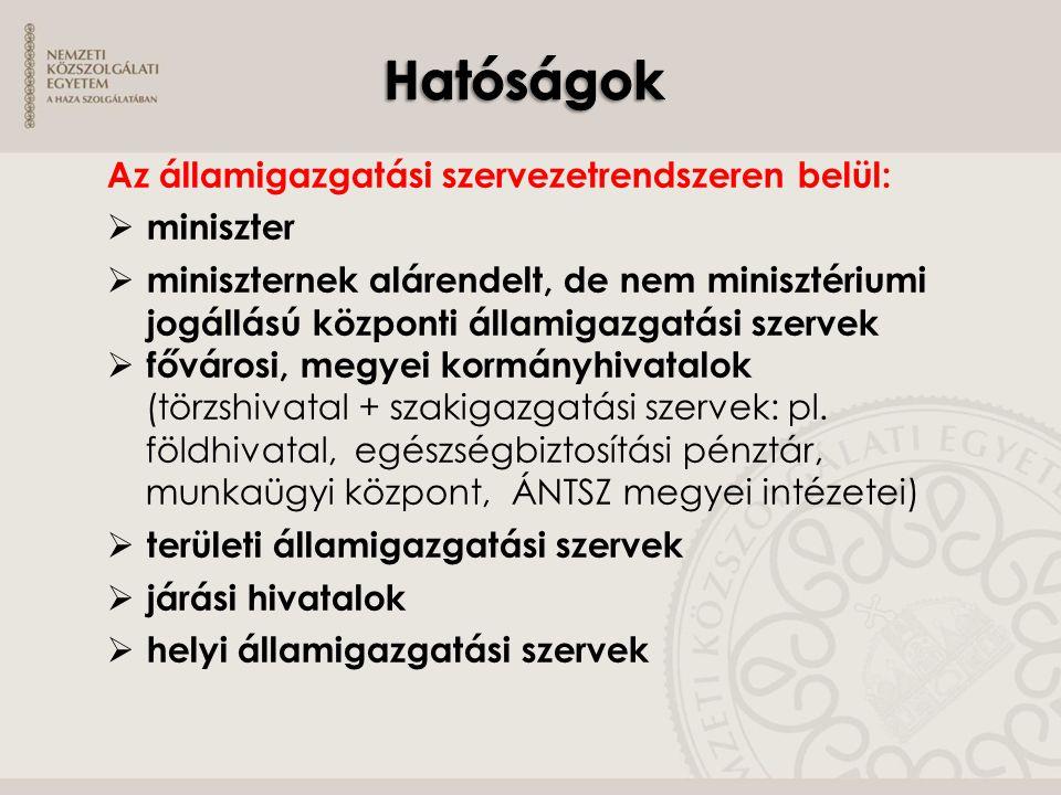 Az államigazgatási szervezetrendszeren belül:  miniszter  miniszternek alárendelt, de nem minisztériumi jogállású központi államigazgatási szervek 
