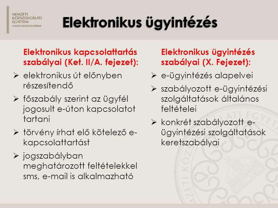 Elektronikus kapcsolattartás szabályai (Ket. II/A. fejezet):  elektronikus út előnyben részesítendő  főszabály szerint az ügyfél jogosult e-úton kap
