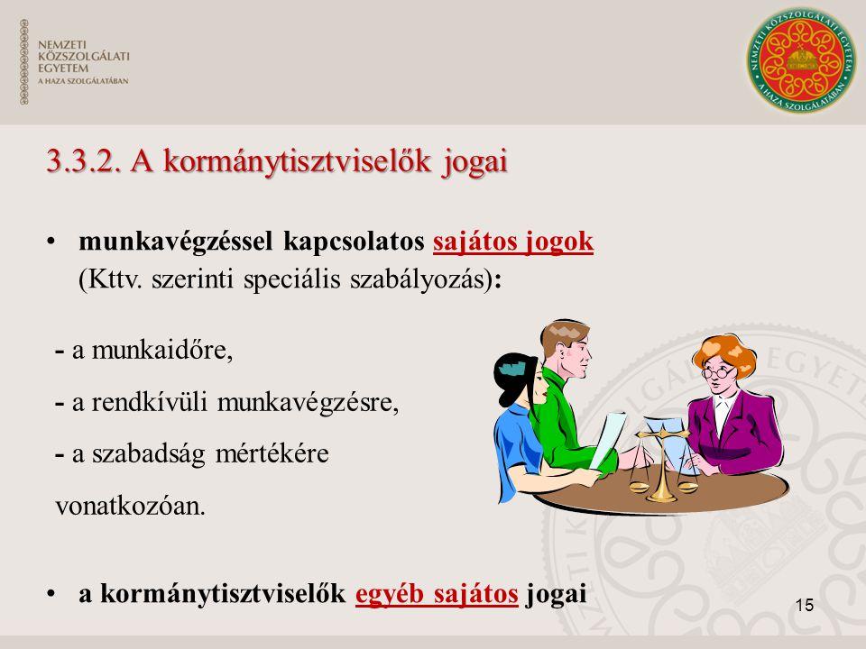 3.3.2. A kormánytisztviselők jogai munkavégzéssel kapcsolatos sajátos jogok (Kttv. szerinti speciális szabályozás): a kormánytisztviselők egyéb sajáto