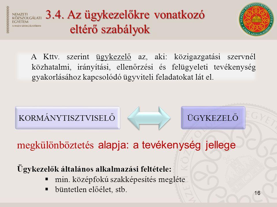 3.4. Az ügykezelőkre vonatkozó eltérő szabályok A Kttv. szerint ügykezelő az, aki: közigazgatási szervnél közhatalmi, irányítási, ellenőrzési és felüg