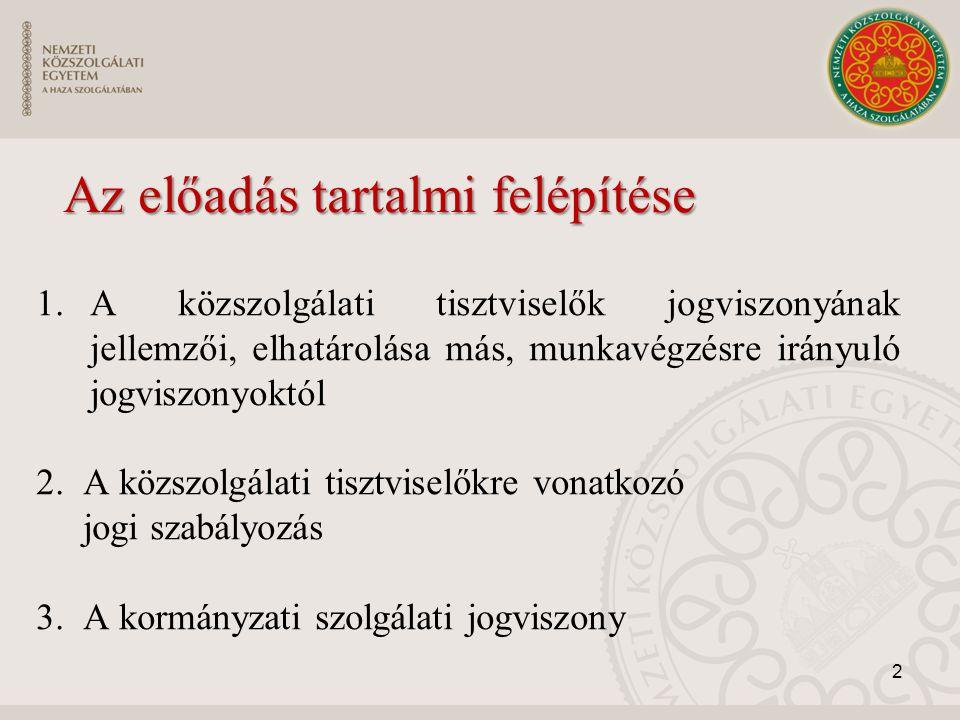 Az előadás tartalmi felépítése 1.A közszolgálati tisztviselők jogviszonyának jellemzői, elhatárolása más, munkavégzésre irányuló jogviszonyoktól 2. A