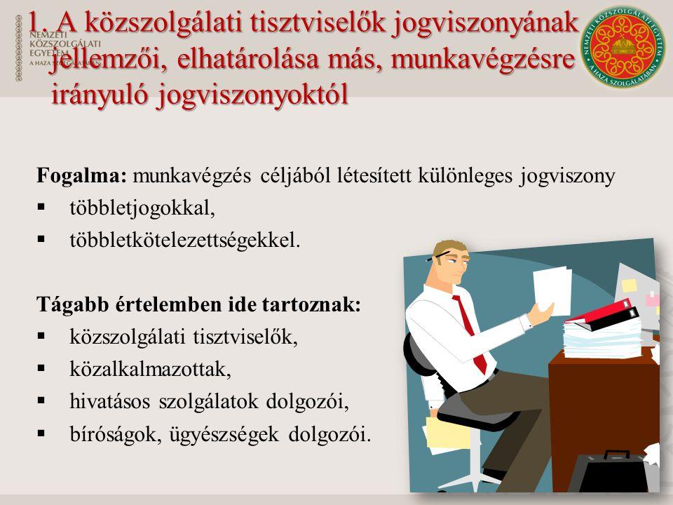 1. A közszolgálati tisztviselők jogviszonyának jellemzői, elhatárolása más, munkavégzésre irányuló jogviszonyoktól Fogalma: munkavégzés céljából létes