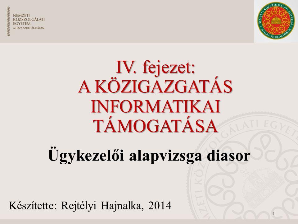 A közigazgatás informatikai támogatása A fejezetben azon eszközök és technológiák kerülnek bemutatásra, melyek szükségesek a XXI.