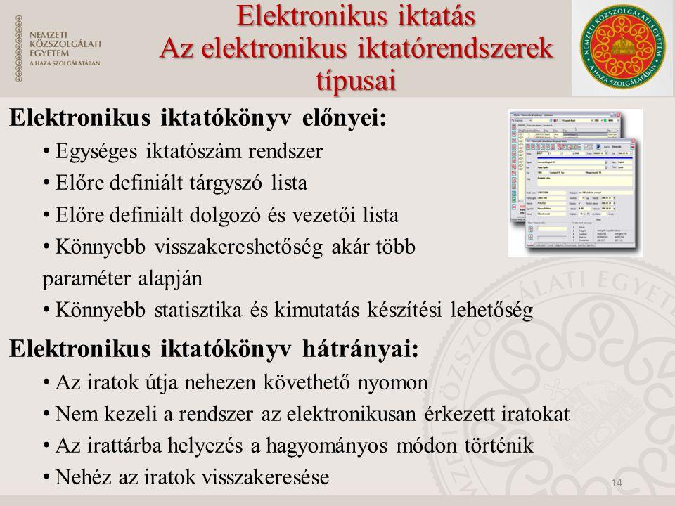 Elektronikus iktatás Az elektronikus iktatórendszerek típusai Elektronikus iktatókönyv előnyei: Egységes iktatószám rendszer Előre definiált tárgyszó lista Előre definiált dolgozó és vezetői lista Könnyebb visszakereshetőség akár több paraméter alapján Könnyebb statisztika és kimutatás készítési lehetőség Elektronikus iktatókönyv hátrányai: Az iratok útja nehezen követhető nyomon Nem kezeli a rendszer az elektronikusan érkezett iratokat Az irattárba helyezés a hagyományos módon történik Nehéz az iratok visszakeresése 14