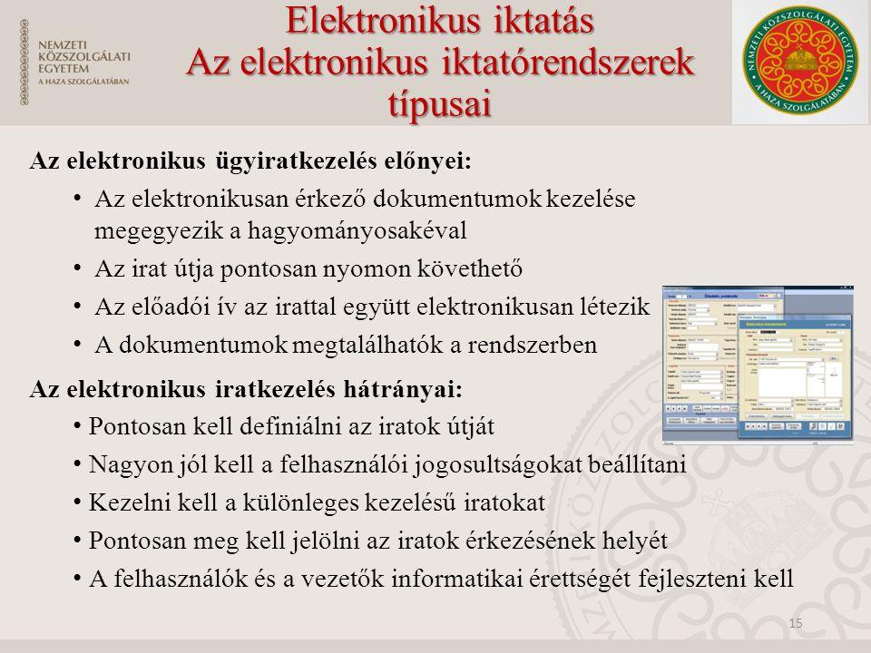 Elektronikus iktatás Az elektronikus iktatórendszerek típusai Az elektronikus ügyiratkezelés előnyei: Az elektronikusan érkező dokumentumok kezelése megegyezik a hagyományosakéval Az irat útja pontosan nyomon követhető Az előadói ív az irattal együtt elektronikusan létezik A dokumentumok megtalálhatók a rendszerben Az elektronikus iratkezelés hátrányai: Pontosan kell definiálni az iratok útját Nagyon jól kell a felhasználói jogosultságokat beállítani Kezelni kell a különleges kezelésű iratokat Pontosan meg kell jelölni az iratok érkezésének helyét A felhasználók és a vezetők informatikai érettségét fejleszteni kell 15