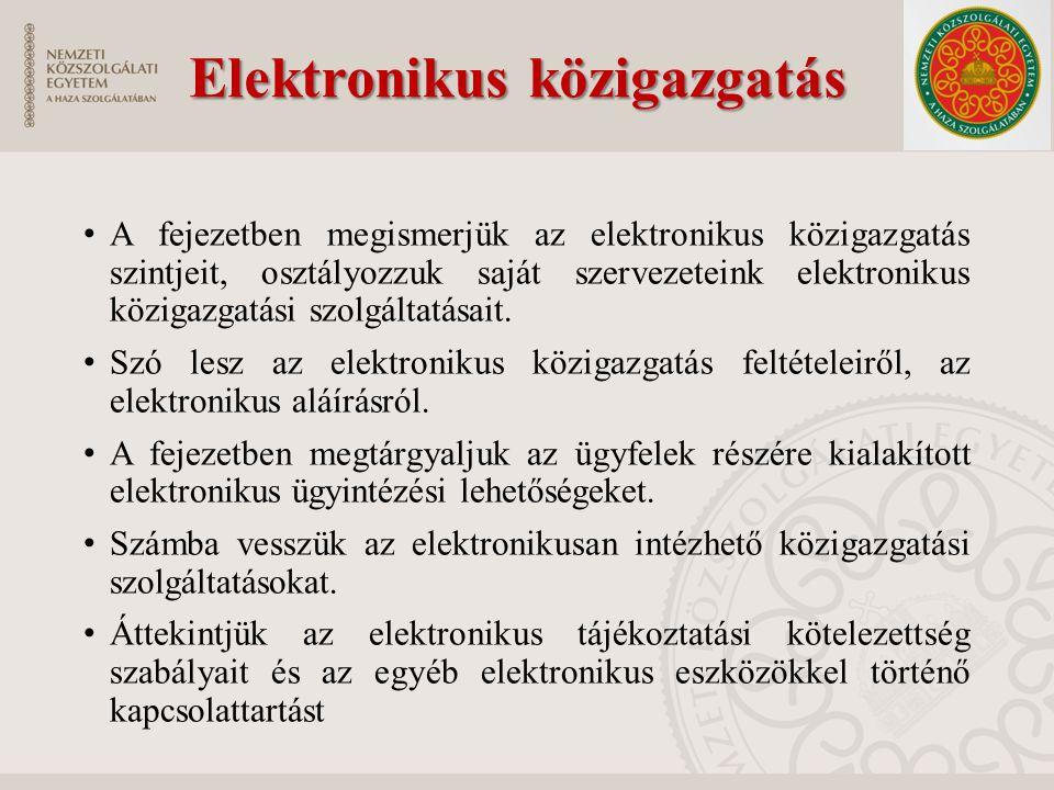 Elektronikus közigazgatás Elektronikus közigazgatás A fejezetben megismerjük az elektronikus közigazgatás szintjeit, osztályozzuk saját szervezeteink elektronikus közigazgatási szolgáltatásait.