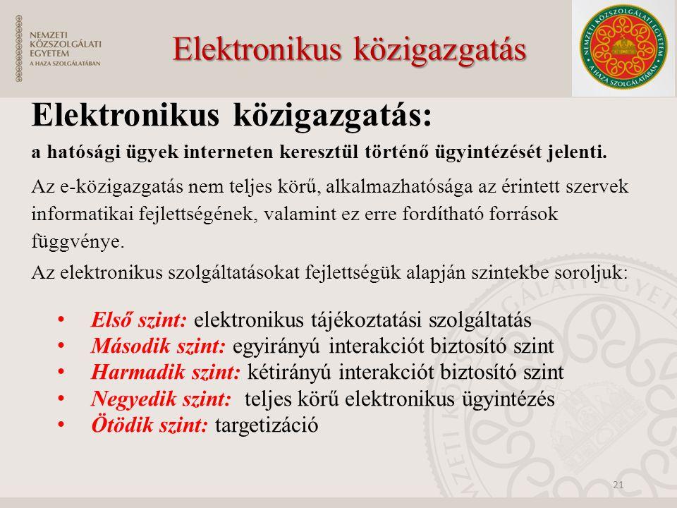 Elektronikus közigazgatás Elektronikus közigazgatás: a hatósági ügyek interneten keresztül történő ügyintézését jelenti.