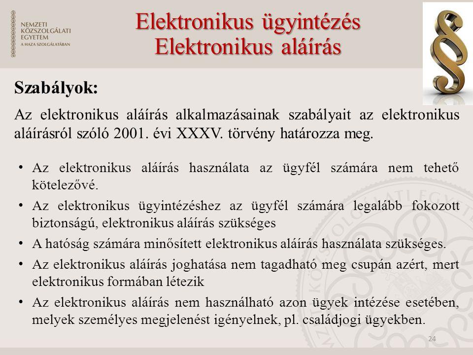 Szabályok: Az elektronikus aláírás alkalmazásainak szabályait az elektronikus aláírásról szóló 2001.