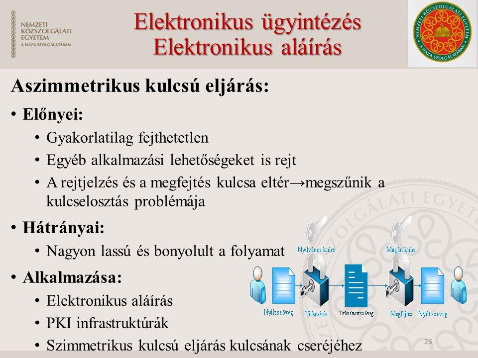 Elektronikus ügyintézés Elektronikus aláírás Aszimmetrikus kulcsú eljárás: Előnyei: Gyakorlatilag fejthetetlen Egyéb alkalmazási lehetőségeket is rejt A rejtjelzés és a megfejtés kulcsa eltér→megszűnik a kulcselosztás problémája Hátrányai: Nagyon lassú és bonyolult a folyamat Alkalmazása: Elektronikus aláírás PKI infrastruktúrák Szimmetrikus kulcsú eljárás kulcsának cseréjéhez 26