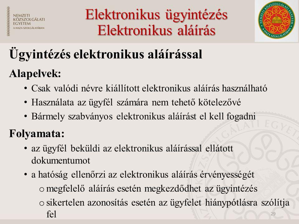 Elektronikus ügyintézés Elektronikus aláírás Ügyintézés elektronikus aláírással Alapelvek: Csak valódi névre kiállított elektronikus aláírás használható Használata az ügyfél számára nem tehető kötelezővé Bármely szabványos elektronikus aláírást el kell fogadni Folyamata: az ügyfél beküldi az elektronikus aláírással ellátott dokumentumot a hatóság ellenőrzi az elektronikus aláírás érvényességét o megfelelő aláírás esetén megkezdődhet az ügyintézés o sikertelen azonosítás esetén az ügyfelet hiánypótlásra szólítja fel 29