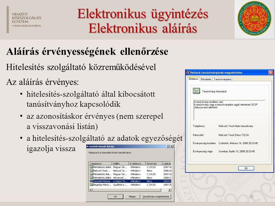 Elektronikus ügyintézés Elektronikus aláírás Aláírás érvényességének ellenőrzése Hitelesítés szolgáltató közreműködésével Az aláírás érvényes: hitelesítés-szolgáltató által kibocsátott tanúsítványhoz kapcsolódik az azonosításkor érvényes (nem szerepel a visszavonási listán) a hitelesítés-szolgáltató az adatok egyezőségét igazolja vissza 30