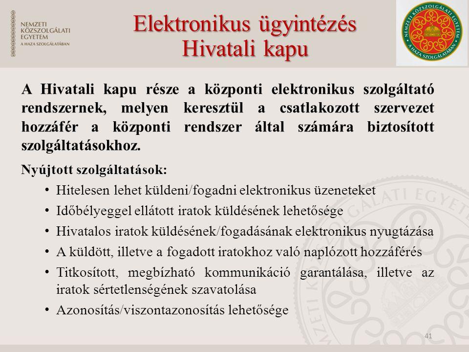 Elektronikus ügyintézés Hivatali kapu A Hivatali kapu része a központi elektronikus szolgáltató rendszernek, melyen keresztül a csatlakozott szervezet hozzáfér a központi rendszer által számára biztosított szolgáltatásokhoz.