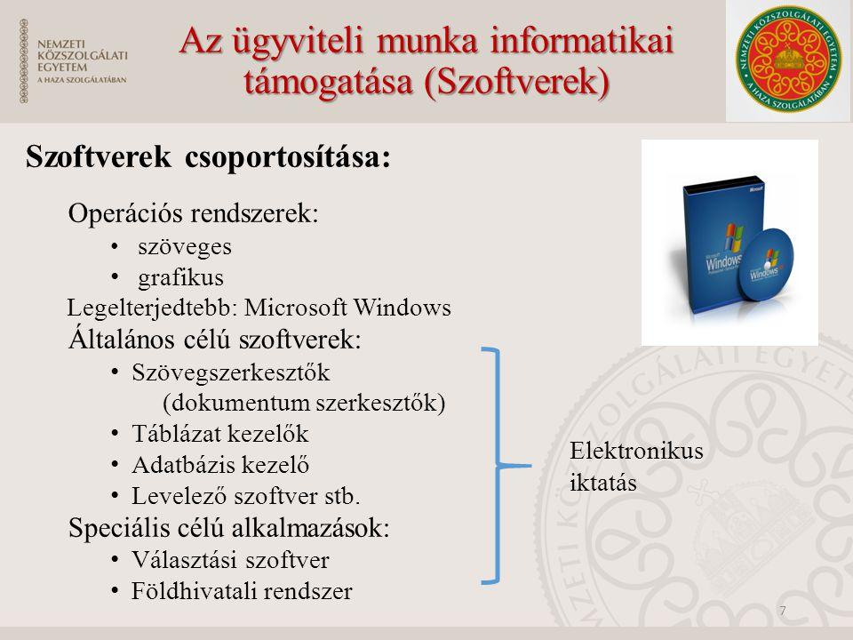 Az ügyviteli munka informatikai támogatása (Szoftverek) Szoftverek csoportosítása: Operációs rendszerek: szöveges grafikus Legelterjedtebb: Microsoft Windows Általános célú szoftverek: Szövegszerkesztők (dokumentum szerkesztők) Táblázat kezelők Adatbázis kezelő Levelező szoftver stb.