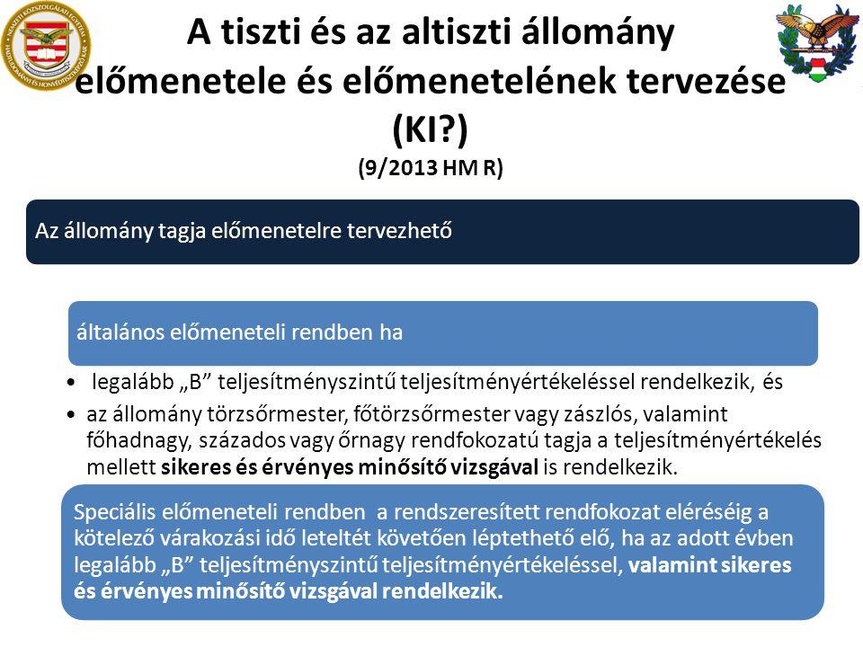 A tiszti és az altiszti állomány előmenetele és előmenetelének tervezése (KI?) (9/2013 HM R) Az állomány tagja előmenetelre tervezhető általános előme