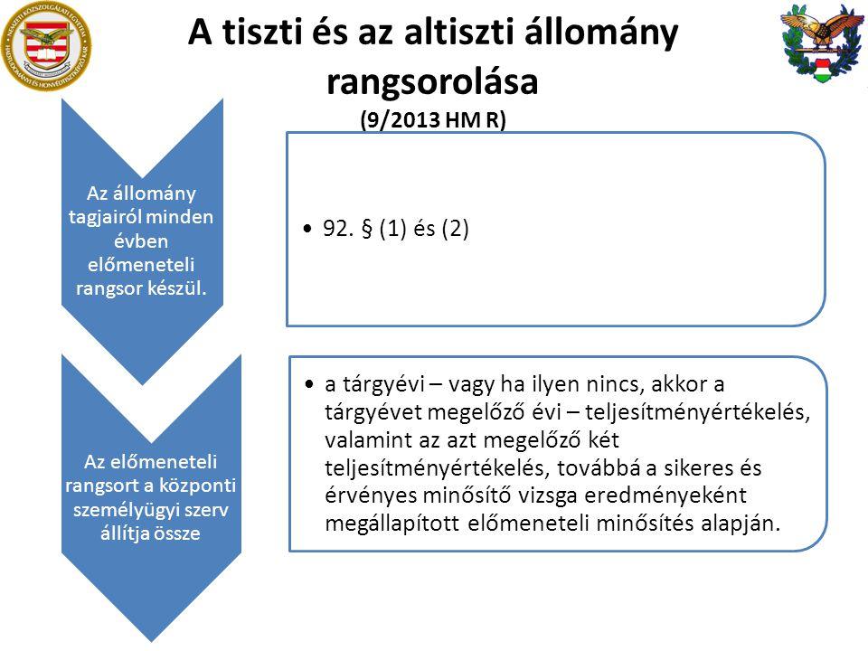 A tiszti és az altiszti állomány rangsorolása (9/2013 HM R) Az állomány tagjairól minden évben előmeneteli rangsor készül. 92. § (1) és (2) Az előmene