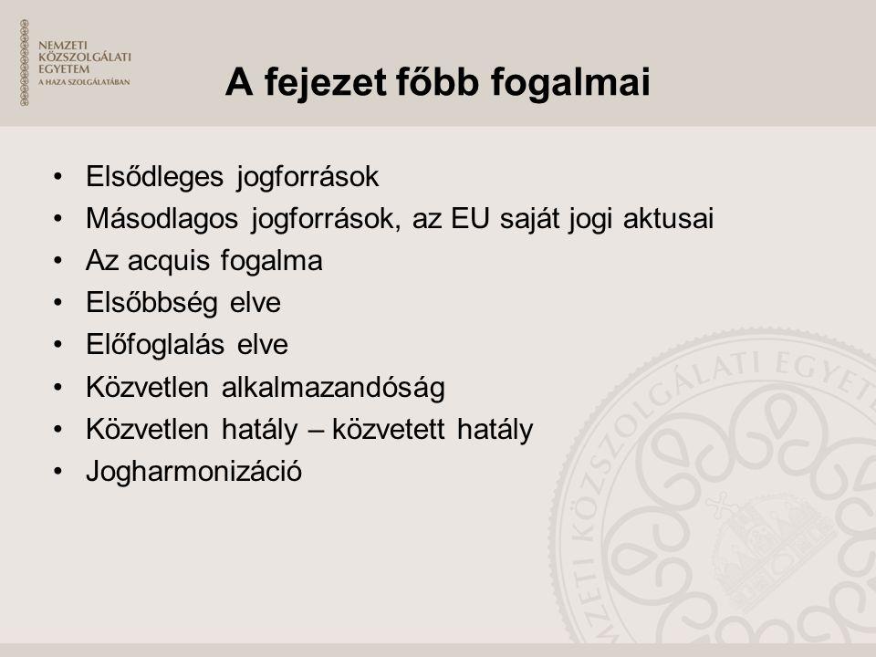 A fejezet főbb fogalmai Elsődleges jogforrások Másodlagos jogforrások, az EU saját jogi aktusai Az acquis fogalma Elsőbbség elve Előfoglalás elve Közv