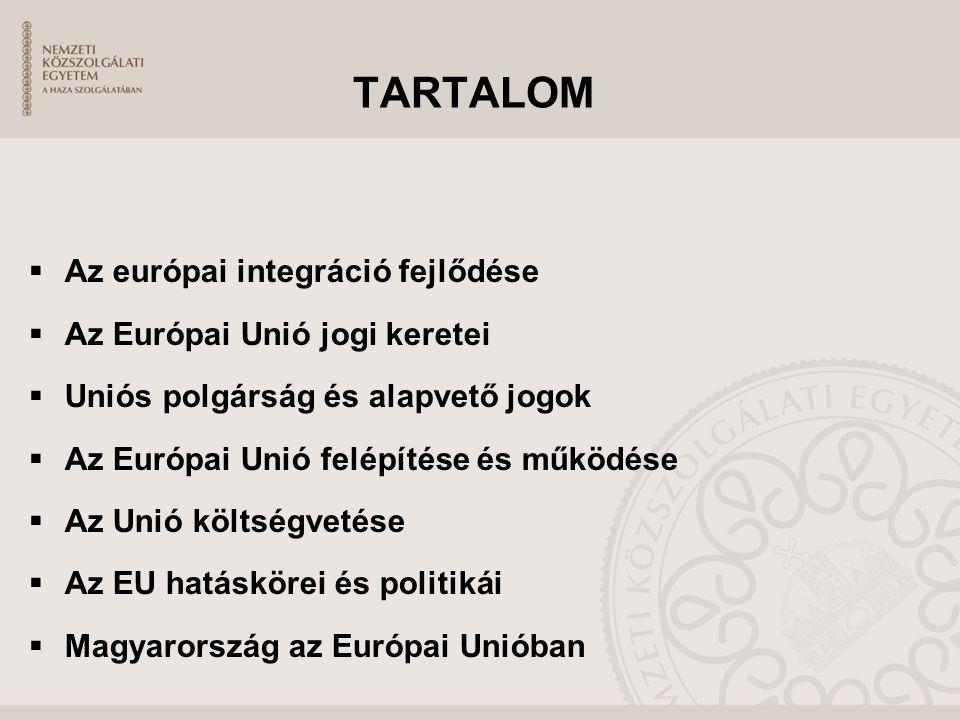 TARTALOM  Az európai integráció fejlődése  Az Európai Unió jogi keretei  Uniós polgárság és alapvető jogok  Az Európai Unió felépítése és működése