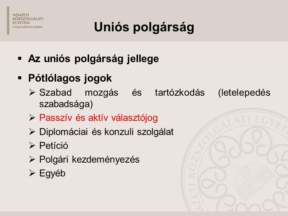 Uniós polgárság  Az uniós polgárság jellege  Pótlólagos jogok  Szabad mozgás és tartózkodás (letelepedés szabadsága)  Passzív és aktív választójog