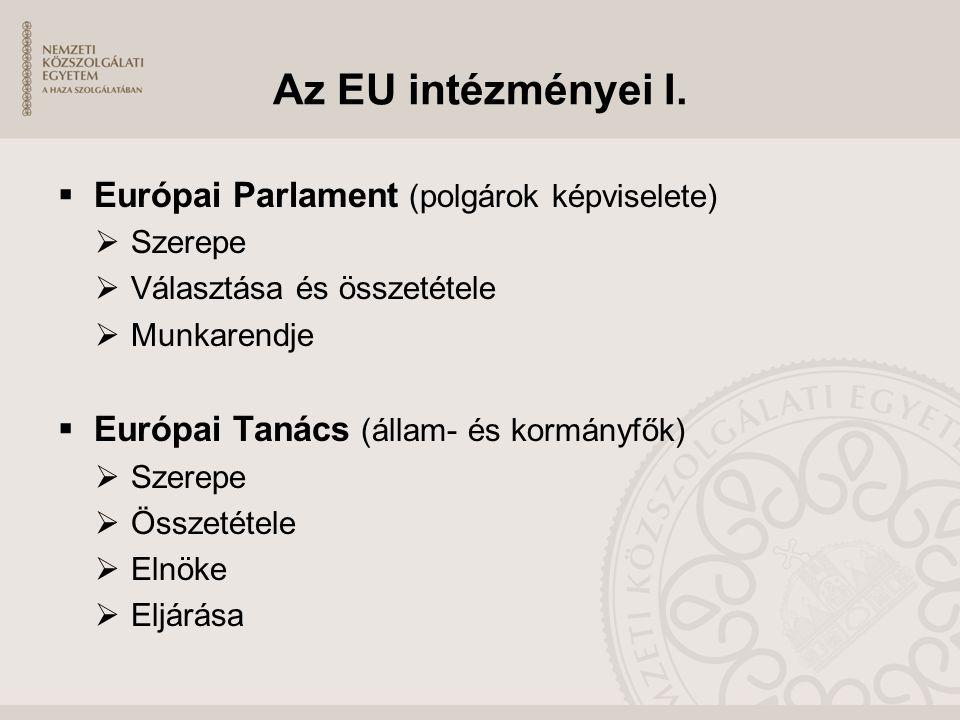 Az EU intézményei I.  Európai Parlament (polgárok képviselete)  Szerepe  Választása és összetétele  Munkarendje  Európai Tanács (állam- és kormán