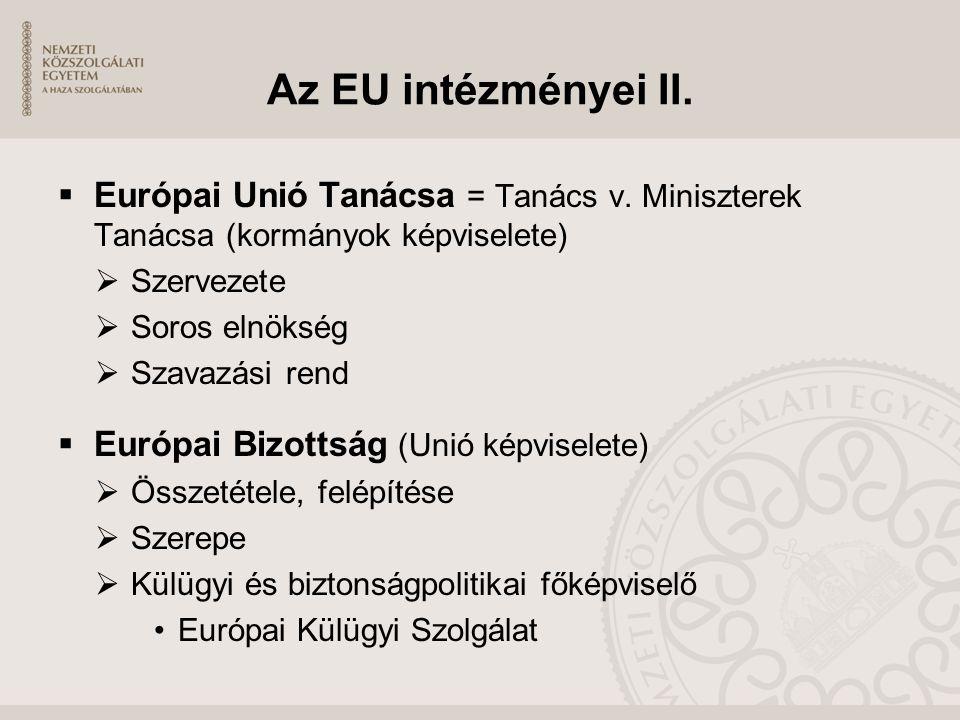 Az EU intézményei II.  Európai Unió Tanácsa = Tanács v. Miniszterek Tanácsa (kormányok képviselete)  Szervezete  Soros elnökség  Szavazási rend 