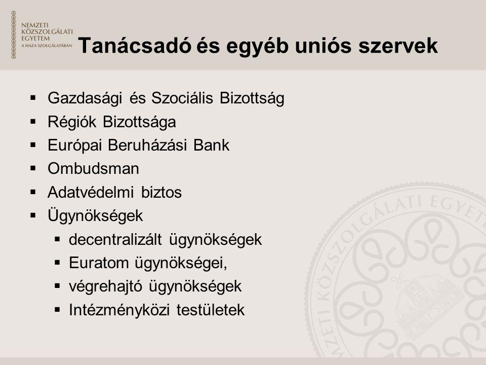 Tanácsadó és egyéb uniós szervek  Gazdasági és Szociális Bizottság  Régiók Bizottsága  Európai Beruházási Bank  Ombudsman  Adatvédelmi biztos  Ü