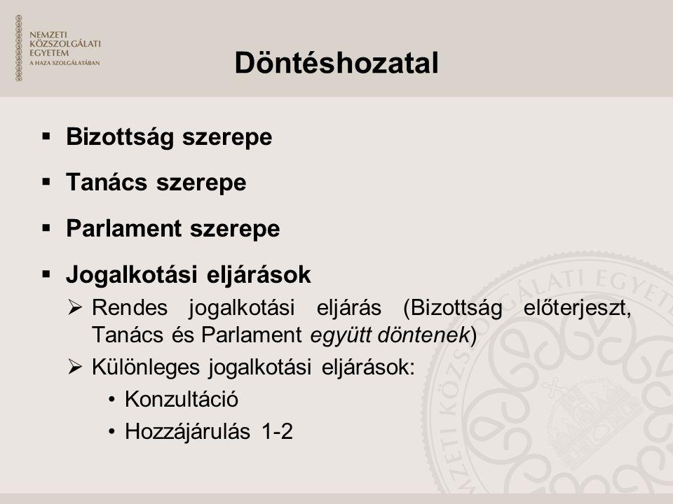 Döntéshozatal  Bizottság szerepe  Tanács szerepe  Parlament szerepe  Jogalkotási eljárások  Rendes jogalkotási eljárás (Bizottság előterjeszt, Ta