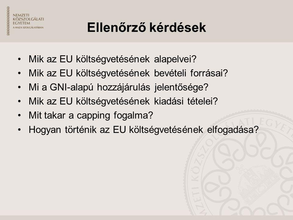 Ellenőrző kérdések Mik az EU költségvetésének alapelvei? Mik az EU költségvetésének bevételi forrásai? Mi a GNI-alapú hozzájárulás jelentősége? Mik az