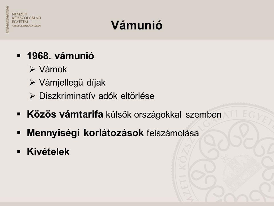 Vámunió  1968. vámunió  Vámok  Vámjellegű díjak  Diszkriminatív adók eltörlése  Közös vámtarifa külsők országokkal szemben  Mennyiségi korlátozá