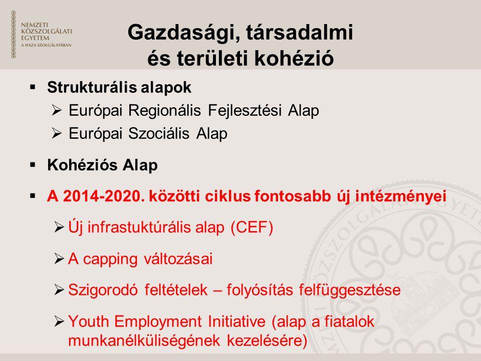Gazdasági, társadalmi és területi kohézió  Strukturális alapok  Európai Regionális Fejlesztési Alap  Európai Szociális Alap  Kohéziós Alap  A 201