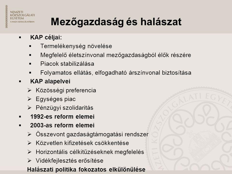 Mezőgazdaság és halászat  KAP céljai:  Termelékenység növelése  Megfelelő életszínvonal mezőgazdaságból élők részére  Piacok stabilizálása  Folya
