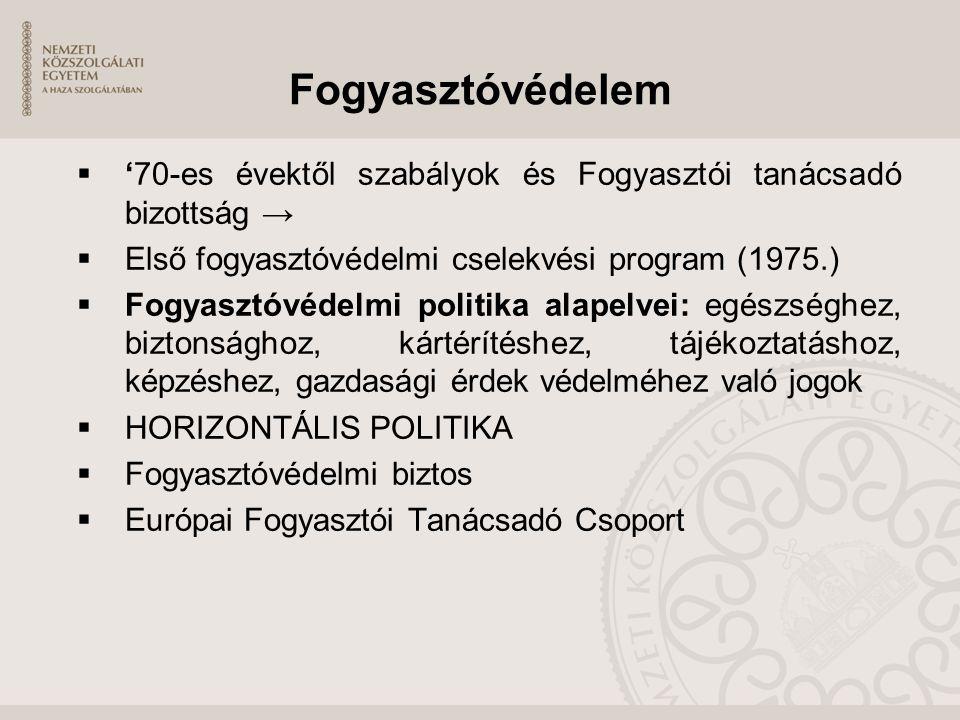 Fogyasztóvédelem  '70-es évektől szabályok és Fogyasztói tanácsadó bizottság →  Első fogyasztóvédelmi cselekvési program (1975.)  Fogyasztóvédelmi