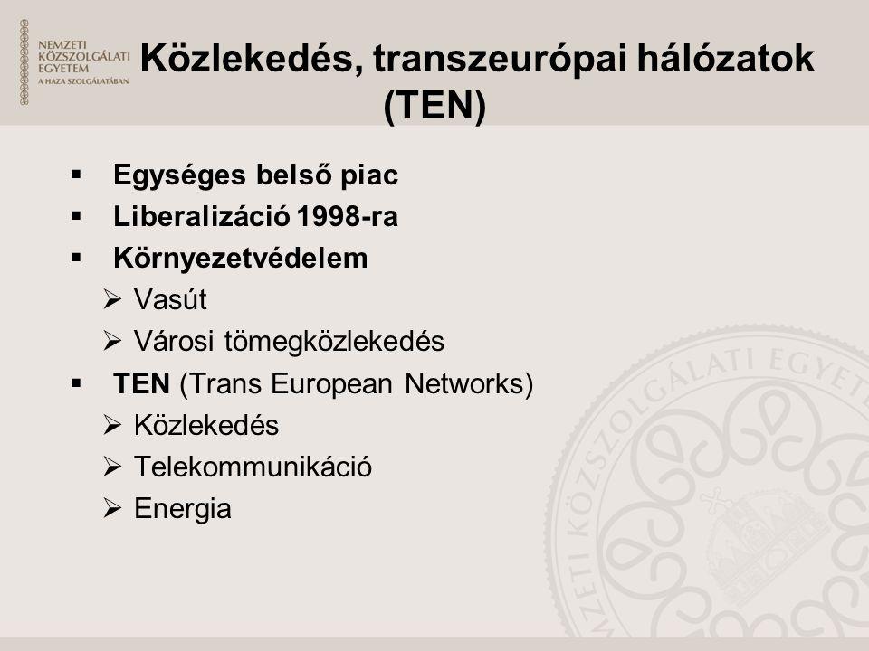 Közlekedés, transzeurópai hálózatok (TEN)  Egységes belső piac  Liberalizáció 1998-ra  Környezetvédelem  Vasút  Városi tömegközlekedés  TEN (Tra
