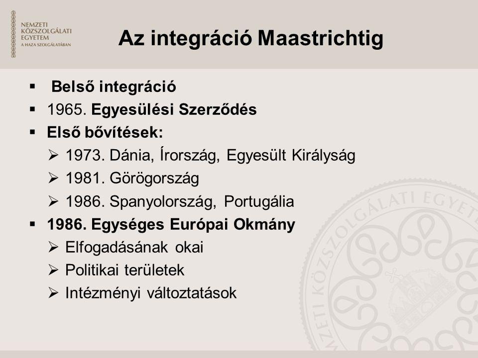 Az integráció Maastrichtig  Belső integráció  1965. Egyesülési Szerződés  Első bővítések:  1973. Dánia, Írország, Egyesült Királyság  1981. Görög