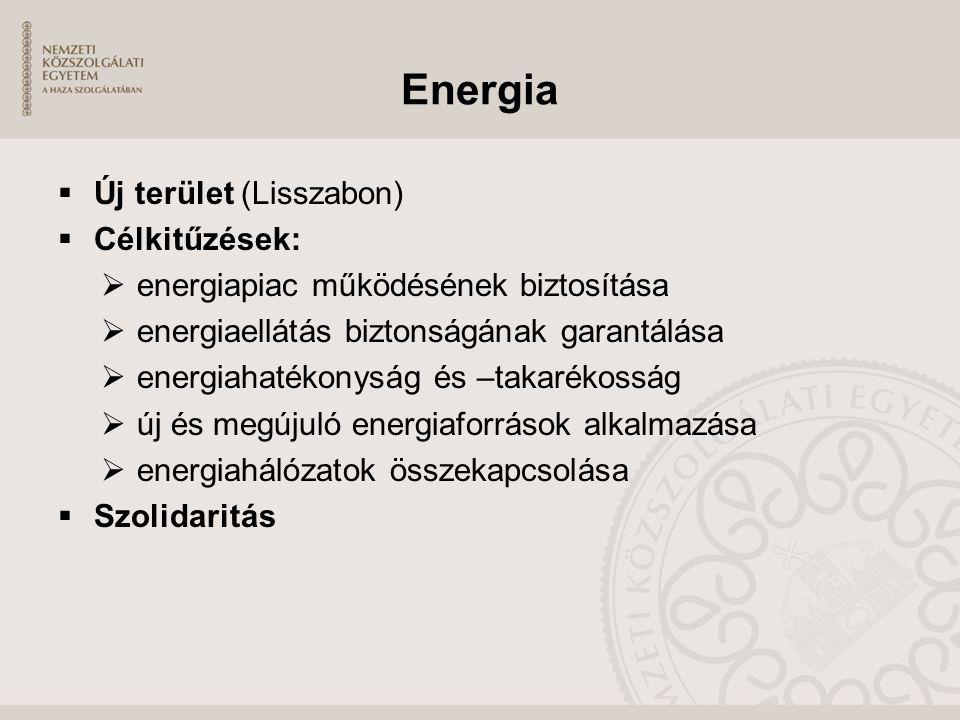 Energia  Új terület (Lisszabon)  Célkitűzések:  energiapiac működésének biztosítása  energiaellátás biztonságának garantálása  energiahatékonyság